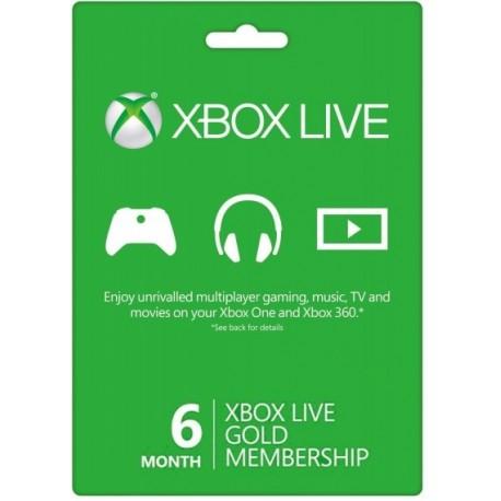 Карта подписки Xbox Live Gold на 6 месяцев